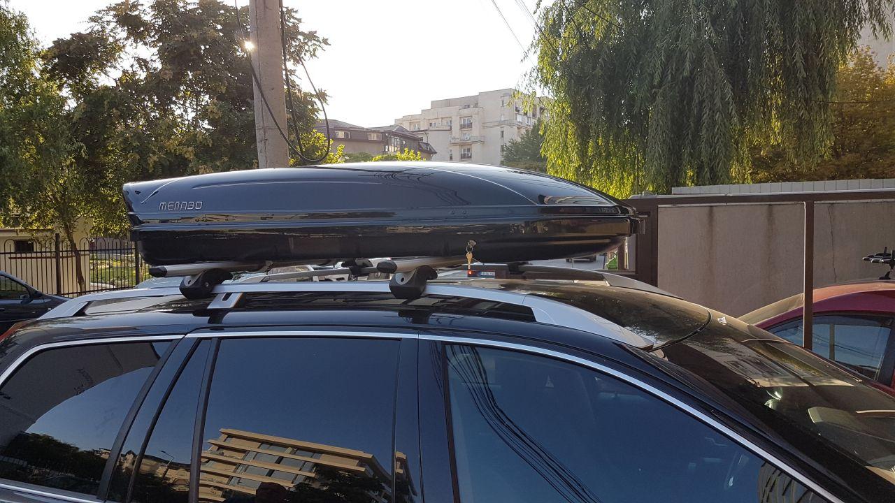 Volvo XC60 bare transversale Menabo Brio si cutie portbagaj Menabo Mania