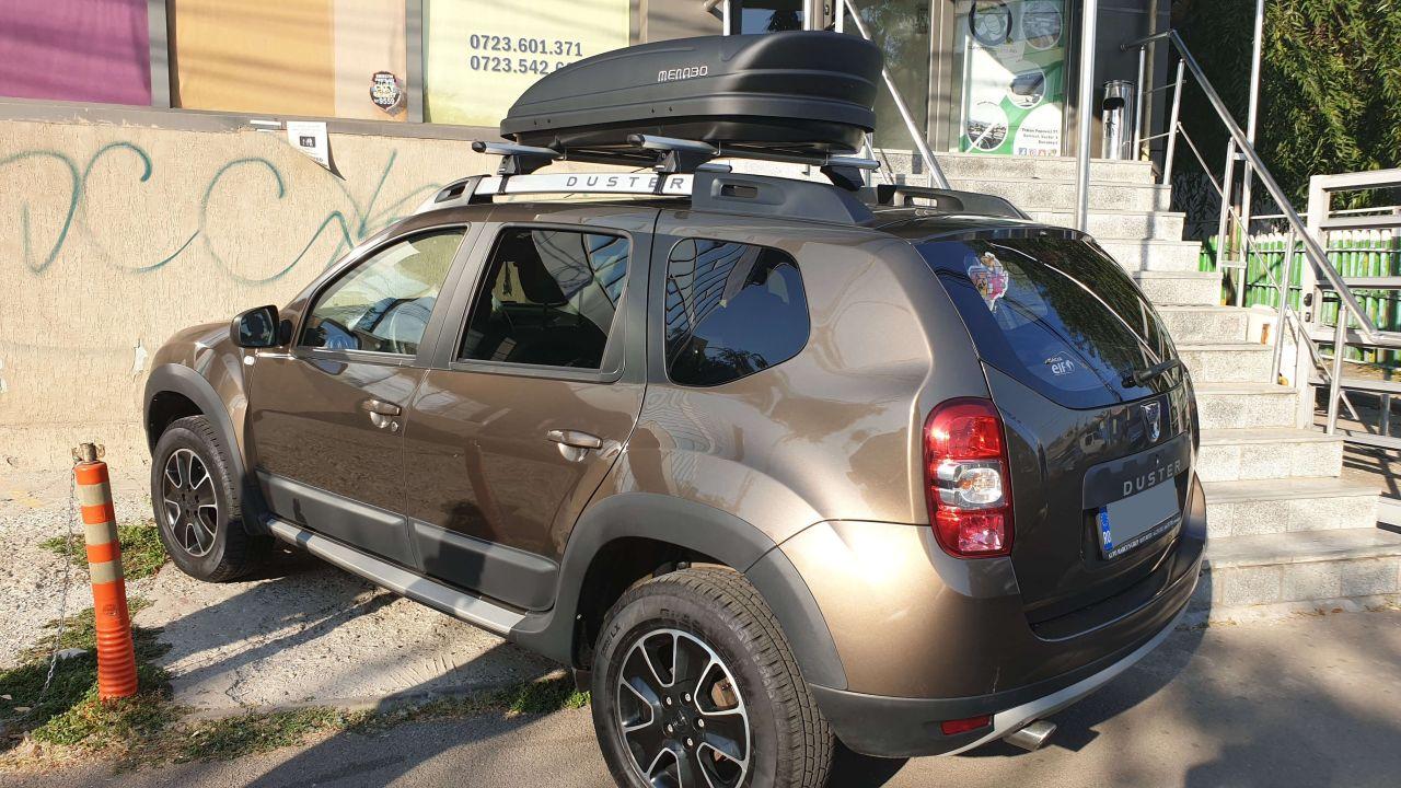 Dacia Duster bare transversale Menabo Alfa si cutie portbagaj Menabo Marathon