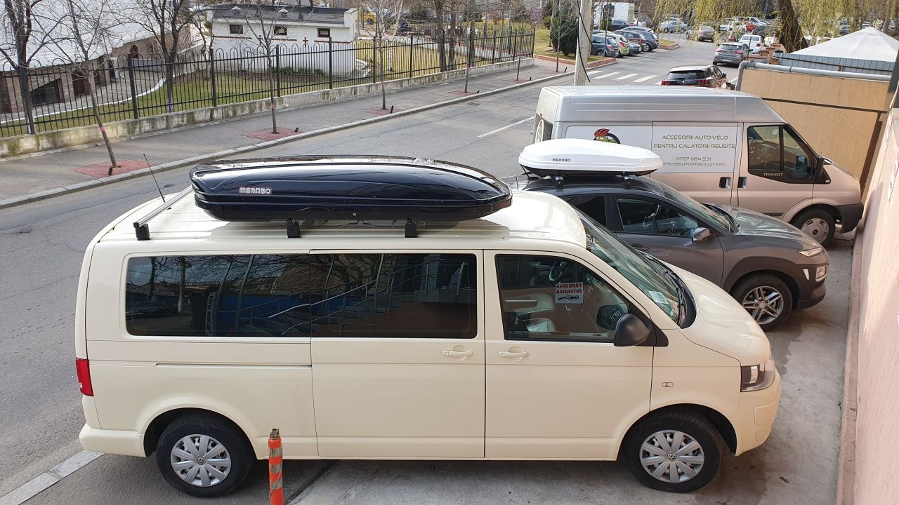 Volkswagen T6 Transporter bare transversale Menabo Professional si cutie portbagaj Menabo Mania