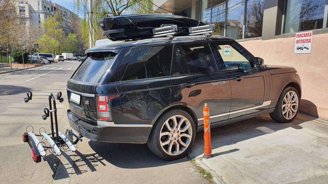 Range Rover Evoque suport bicicleta pe carlig Menabo Merak Tilting Plus