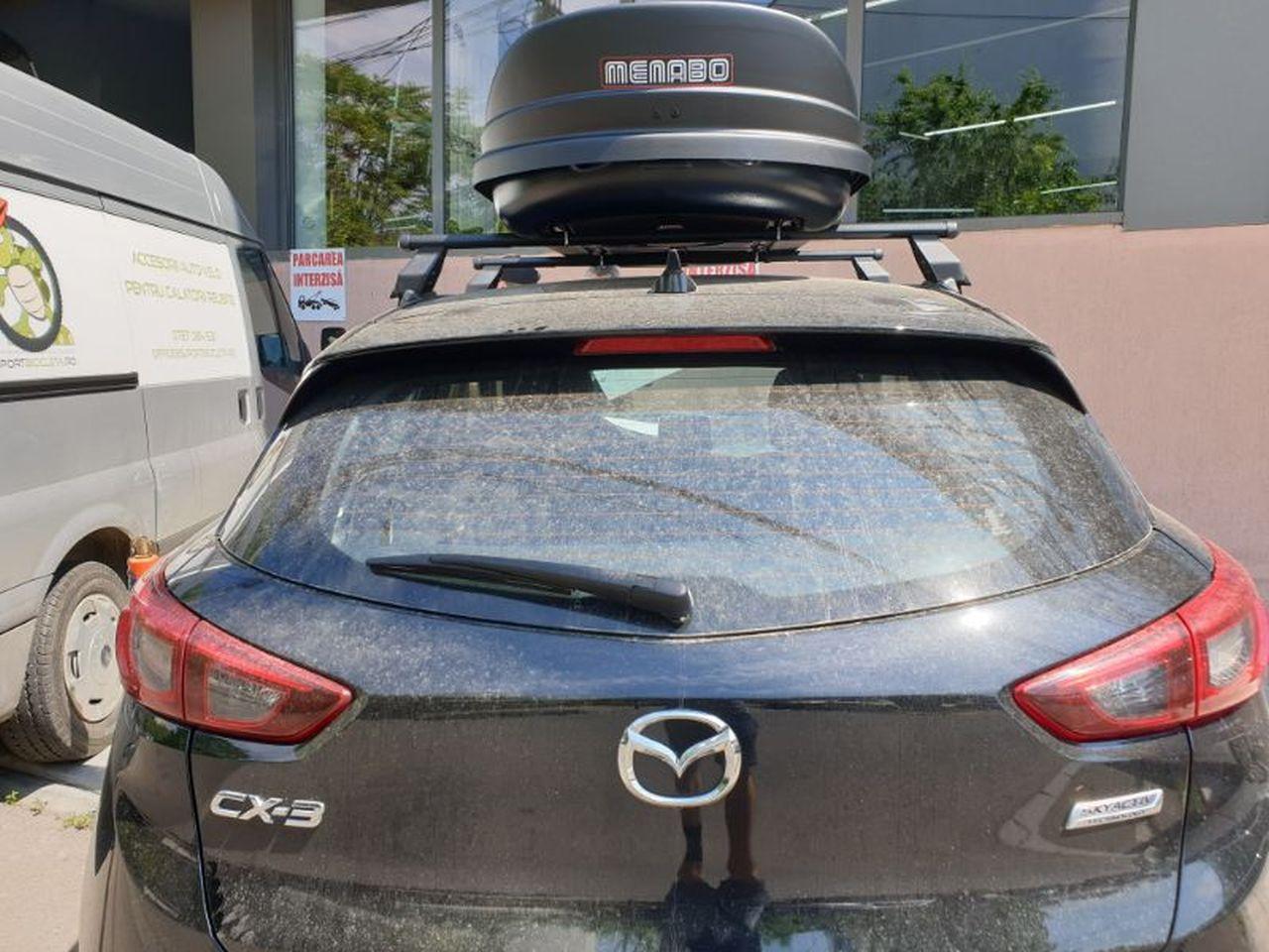 Mazda CX3 bare transversale Menabo Tema si cutie portbagaj Menabo Mania