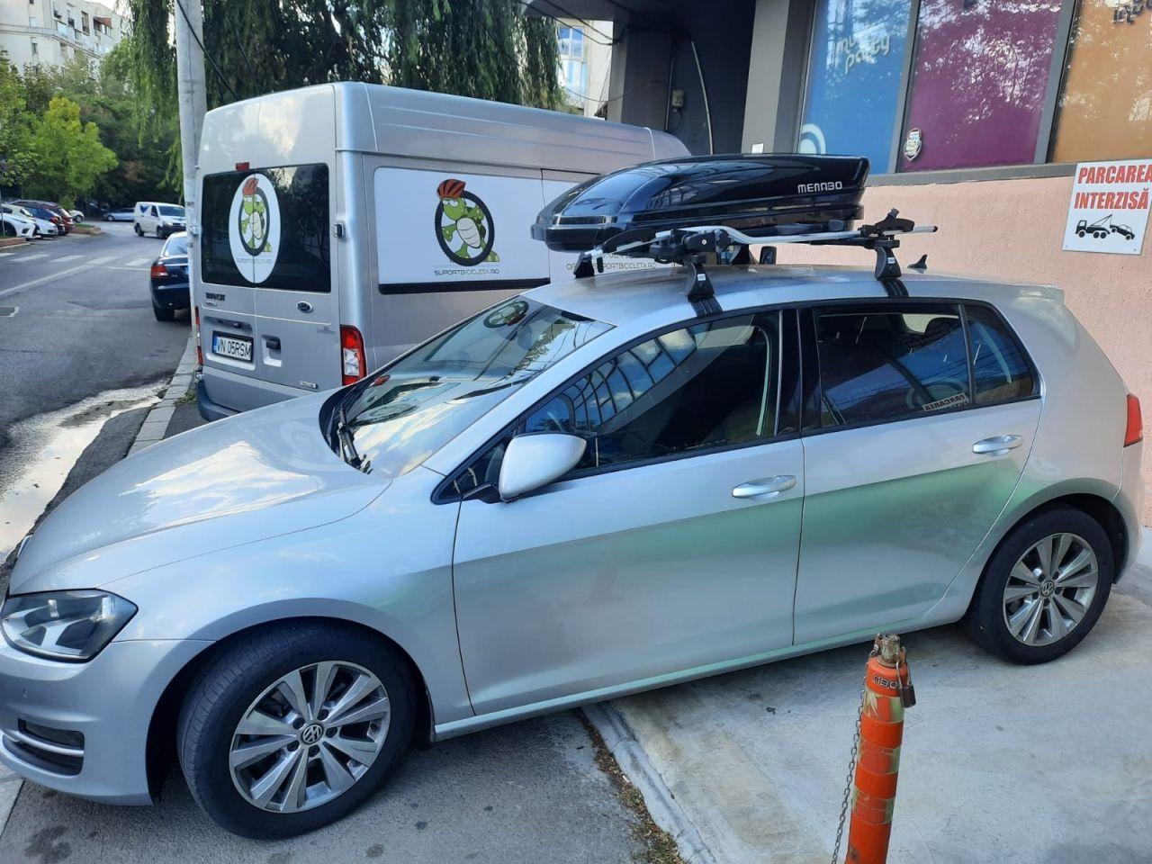 Volkswagen Golf suport bicicleta Thule ProRide si cutie portbagaj Menabo Mania