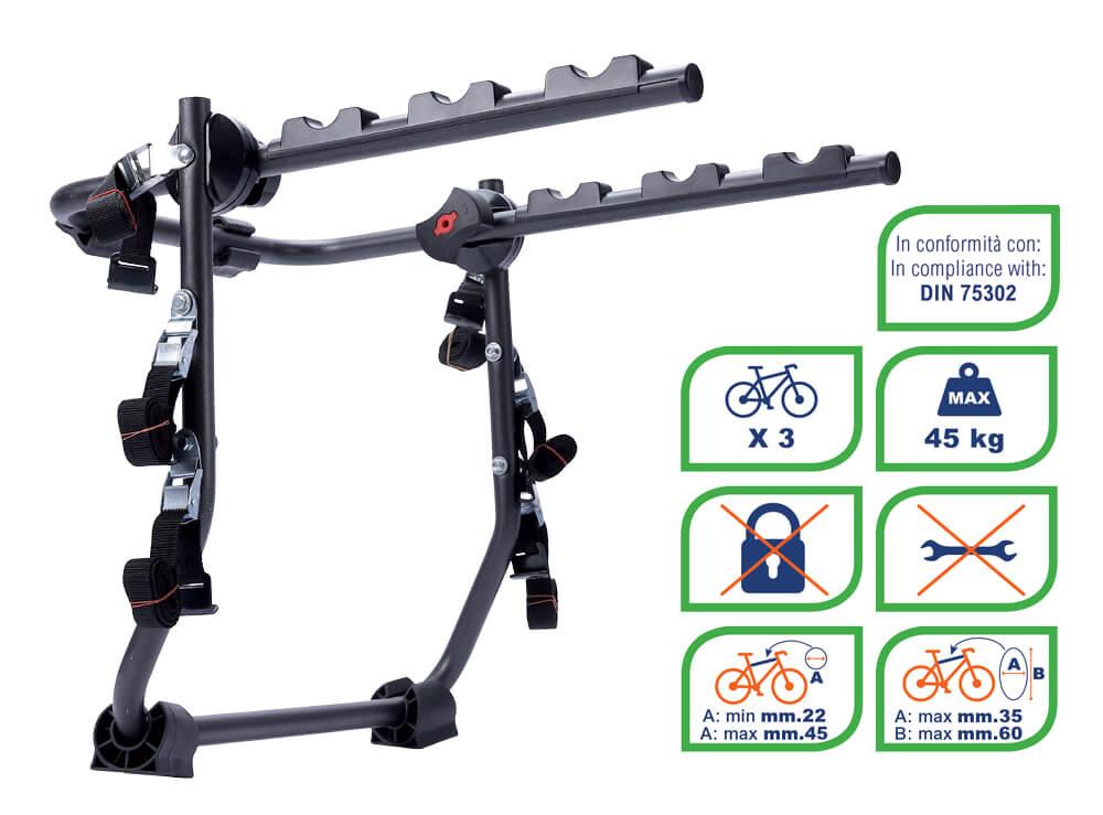 Suport bicicleta cu prindere pe haion sau portbagaj