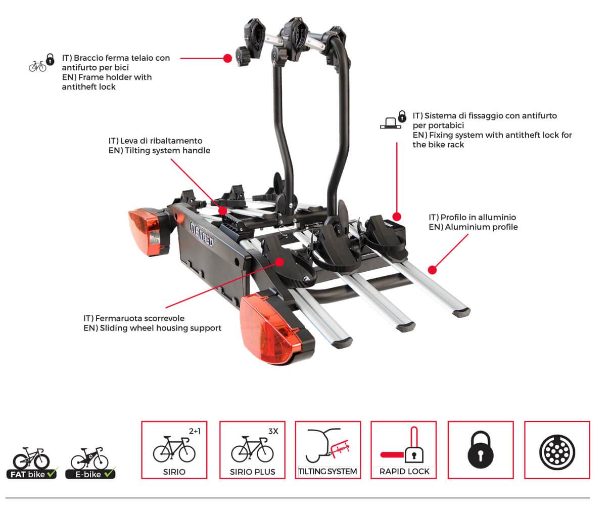 Suport bicicleta pe carlig Menabo Sirio